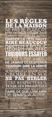 Sticker Porte Les Regles De La Maison - Stickers Déco Porte
