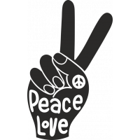 Sticker Peace and Love Doigt