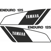 Kit autocollants Yamaha 125 DTMX 1979 2A8 Enduro noir blanc