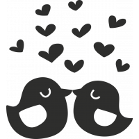 Sticker Cœur Oiseaux
