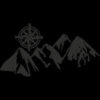 Sticker Montagne Boussole