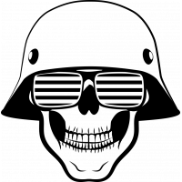 Sticker Tête De Mort Casque Armée