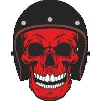 Sticker Red Skull Helmet