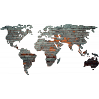 Sticker Monde Mappemonde Globe Brique