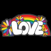 Sticker Love Hippie Flower