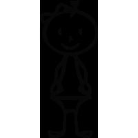 Sticker Famille Bébé fille
