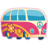 Sticker Peace and Love Van Combi