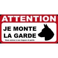 Sticker Attention au chien je monte la garde