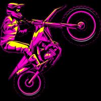Sticker Motocross Violet Vintage