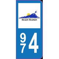 Sticker immatriculation 974 - La Réunion