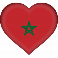 Autocollant Drapeau Maroc coeur