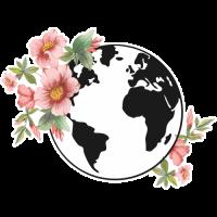 Sticker Monde Mappemonde Globe Fleurs