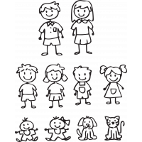 Kit Sticker Famille Personnage