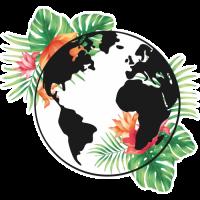 Sticker Monde Mappemonde Globe Tropical