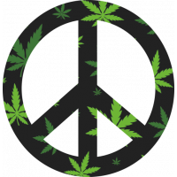 Sticker Peace and Love Cannabis Weed
