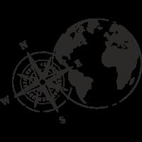 Sticker Monde Mappemonde Globe Boussole