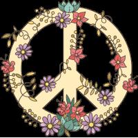 Sticker Peace and Love Fleurs Beige