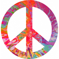 Sticker Peace and Love Trippy