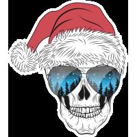 Autocollant Tête de mort Noël 5