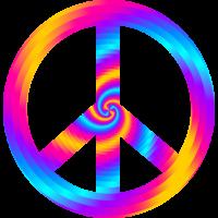 Sticker Peace and Love Trippy Illusion