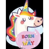 Sticker Born this Way Licorne