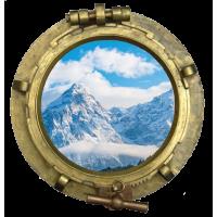 Sticker Hublot Montagne Neige