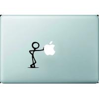 Bonhomme Appuyé Contre Pomme - Sticker Macbook