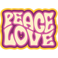 Sticker Peace and Love 70's 3