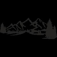 Sticker Montagnes Sapin Déco