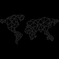 Sticker Monde Mappemonde Géométrique