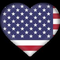 Autocollant Drapeau américain coeur