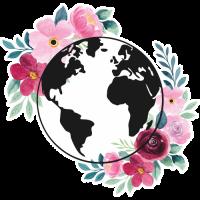 Sticker Monde Mappemonde Globe Fleurs 2