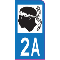 Sticker immatriculation moto 2A - Corse-du-Sud