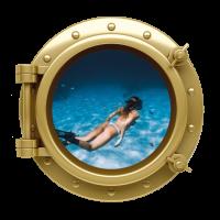 Sticker Hublot Océan Femme plongée Sexy
