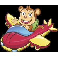 Autocollant Enfant Singe En Avion
