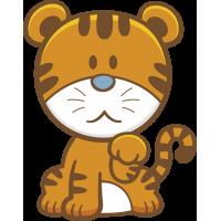 Autocollant Enfant Tigre Mignon
