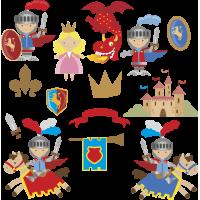 Autocollant Kit Enfant Princesse Et Chevalier