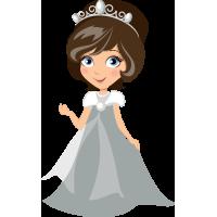 Autocollant Princesse Robe Grise