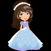 Autocollant Princesse Robe Bleu 1