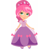 Autocollant Princesse Robe Rose Nœuds