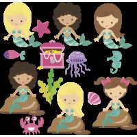 Autocollant Kit Enfant Princesse Sirène