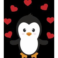 Autocollant Pingouin Cœur