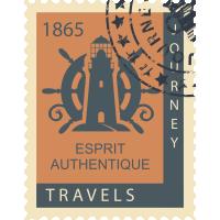 Autocollant Timbre Vintage Mer Voyage