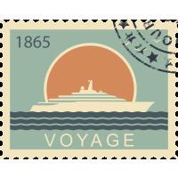 Autocollant Timbre Vintage Voyage