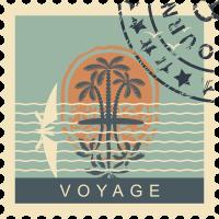 Autocollant Timbre Vintage Voyage 2