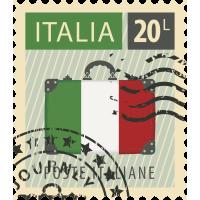 Autocollant Timbre Vintage Italie