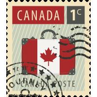 Autocollant Timbre Vintage Canada