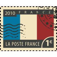 Autocollant Timbre Vintage Drapeau France