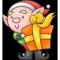 Autocollant Noël Lutin Cadeaux 1