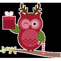 Autocollant Noël Chouette Cadeaux